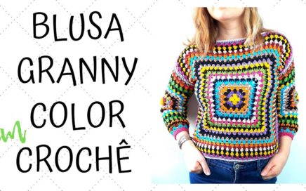BLUSA CROCHE GRANNY COLOR - GRANNY SQUARE CROCHET SHIRT