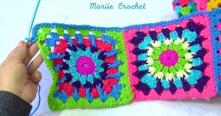 BUFANDA TEJIDA A CROCHET CON CUADROS GRANNY - Granny square Long scarf