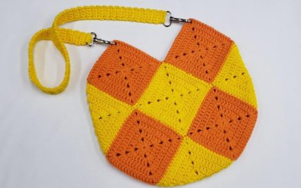 Bolsa de Crochê Com Quadrados - Aula de Crochê - Crochet Square Purse