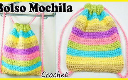🌈Bolso - Mochila - Morral Tejido a Crochet (FACIL Y PASÓ A PASO)