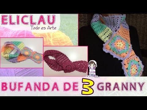 Bufanda con 3 Granny Square+ esquema de puntos | Scarf with 3 granny square | EliClau