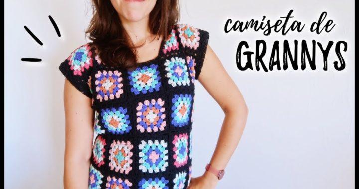 CAMISETA o BLUSA a crochet con GRANNY SQUARES | Tutorial paso a paso | Ahuyama Crochet