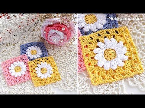 CROCHET  EASY beginner Crochet Flower Granny Square  Motif #1