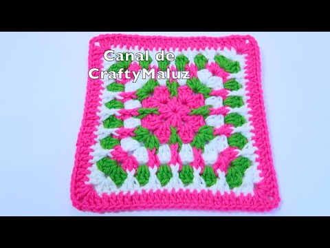 CROCHET TUTORIAL CUADRO A CROCHET PUNTOS EN RELIEVE INTERCALADOS Granny square fácil