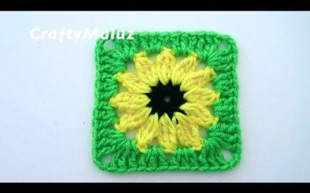 CROCHET TUTORIAL   CUADRO DE GIRASOL TEJIDO PASO A PASO   Granny Square   Aplicación a crochet