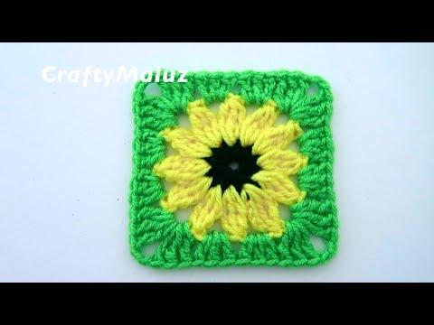 CROCHET TUTORIAL | CUADRO DE GIRASOL TEJIDO PASO A PASO | Granny Square | Aplicación a crochet