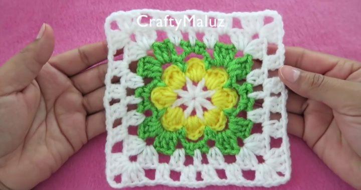 CROCHET TUTORIAL ♥ CUADRO TEJIDO MUY FÁCIL Motivo a crochet Granny Square Paso A Paso