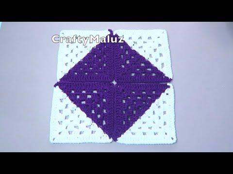 CROCHET TUTORIAL Cuadro a Crochet de dos Colores Easy granny square crochet Cuadro tejido muy fácil