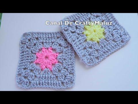 CROCHET TUTORIAL Granny Square 👉 Como hacer un cuadro a Crochet muy Fácil paso a paso👍
