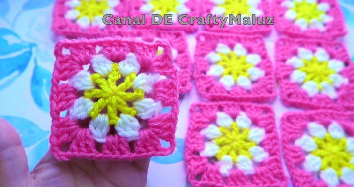 CROCHET TUTORIAL🌺 Mini Cuadro a Crochet muy fácil (Granny Square Motivo a Crochet)