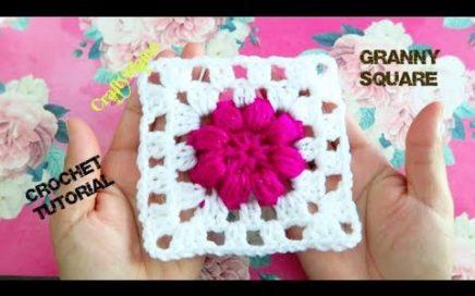 CROCHET TUTORIAL (granny square) CUADRO TEJIDO CON FLOR EN PUNTO PUFF | Aplicación de crochet