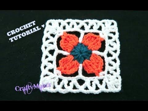 CUADRO A CROCHET CON FLOR DE CUATRO PETALOS Aplicación de crochet | Granny Square Paso A Paso