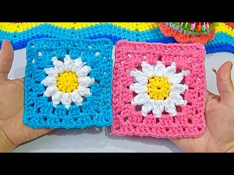 CUADRO MARGARITA  2 Formas diferentes de Tejer la Flor  a Crochet paso a paso