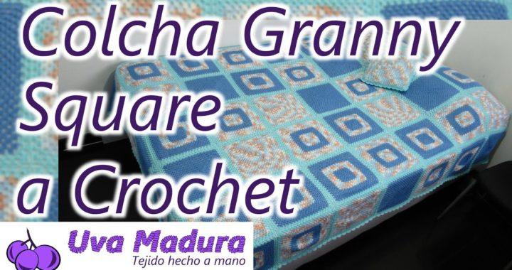 Colcha Cubrecama en Granny Square tejido a Crochet Ganchillo Paso a Paso