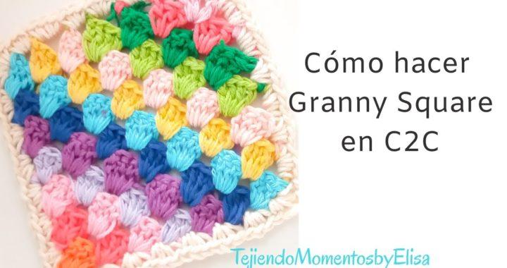 Como hacer un Granny Square con C2C #grannysquare #crochet
