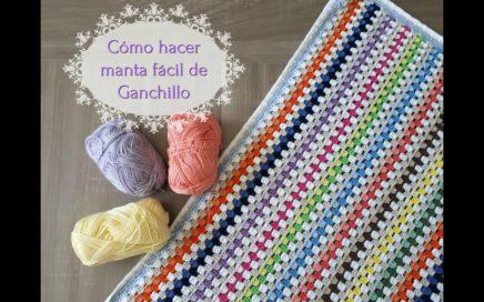 Cómo hacer una manta fácil de crochet, paso a paso. Tutorial de ganchillo paso a paso en español.