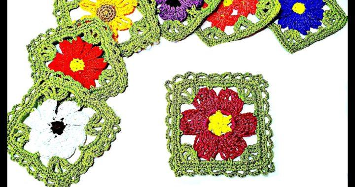 🌸Como tejer Granny Square 🌹Flor del Viento a Crochet Paso a Paso🌸 Flowers Crochê Square Easy🌸