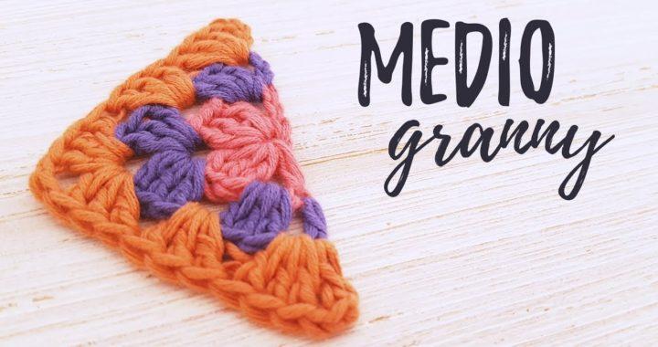 Cómo tejer MEDIO GRANNY SQUARE a crochet | tutorial PASO A PASO | Ahuyama Crochet