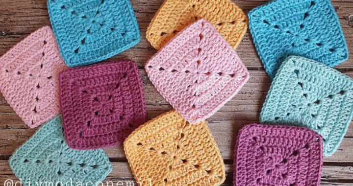 Como tejer el sencillo cuadrado granny a crochet paso a paso