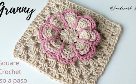Cómo tejer granny square con flor a crochet paso a paso