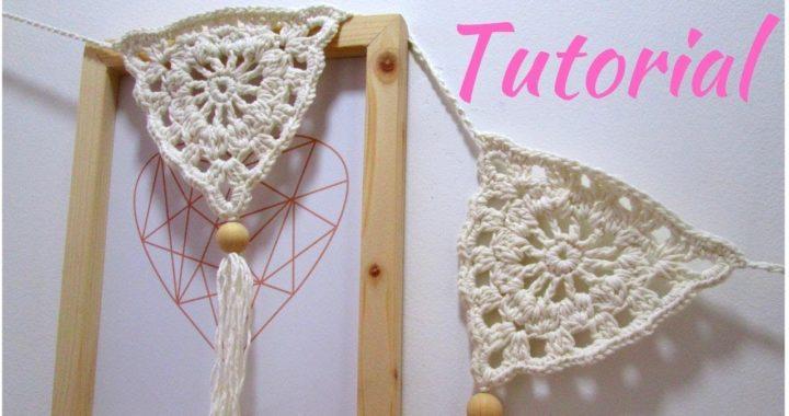 Cómo tejer un Banderín o Guirnalda  a Crochet para Decoración