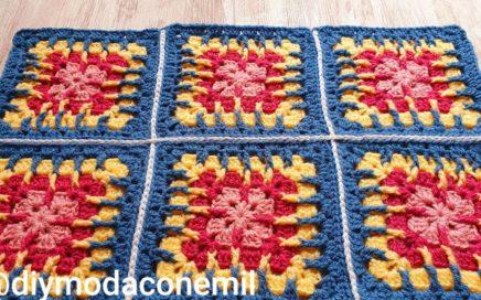 Como tejer unir cuadrados Granny con relieve a crochet paso a paso