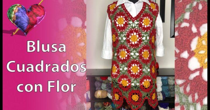 Crochet: Blusa Cuadrados con Flor