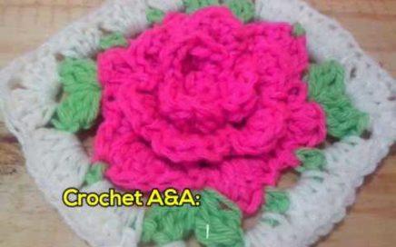 Crochet Granny square con motivo de flor - Paso a paso