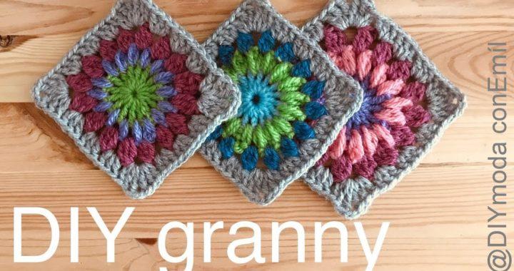 Cuadrado Granny square Puff a crochet paso a paso