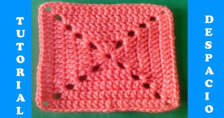 Cuadrado básico de crochet, nueva versión