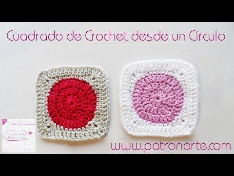 Cuadrado de Crochet desde un Círculo