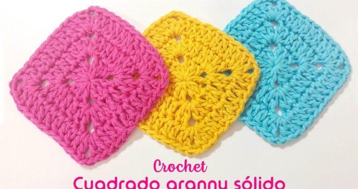 Cuadrado granny sólido tejido a crochet