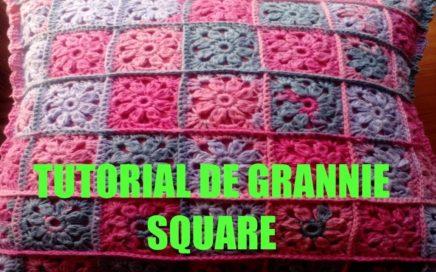 Cuadrados en crochet de este cojín, tutorial