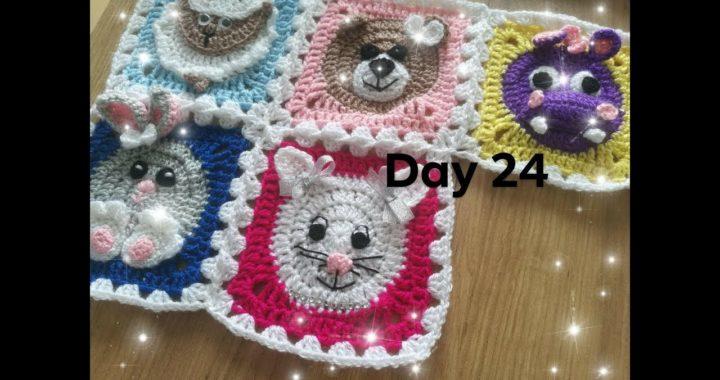 Dzień 24- kwadrat babuni na szydełku z kotkiem  - crochet granny square with cat day 25 - 30