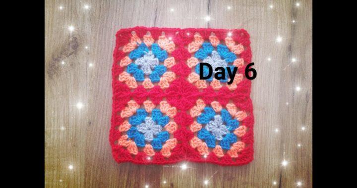 Dzień 6- kwadrat babuni na szydełku  - crochet granny square day 6 - 30