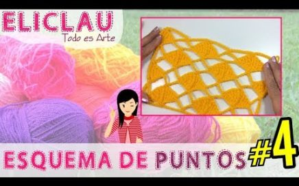 Esquema de puntos en crochet #4 | Red y Rombos | Scheme of points | EliClau