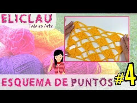 Esquema de puntos en crochet #4 | Red y Rombos | Scheme of points | EliClau