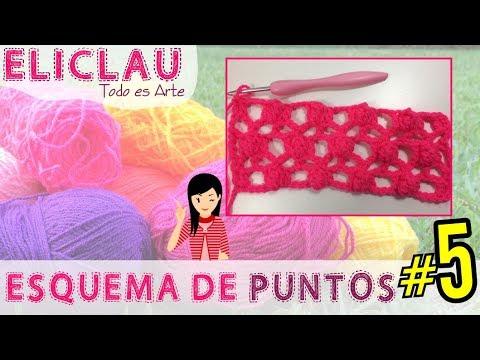 Esquema de puntos en crochet #5 | Bodoque, Mota o Popcorn | Scheme of points | EliClau