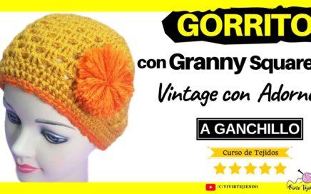 🌈 Gorro a Crochet con Granny Square Fácil de Tejer ✅ Todas las Tallas