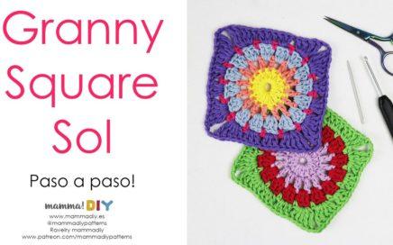 Granny Square Sol Crochet por Cecilia Losada de Mamma Do It Yourself