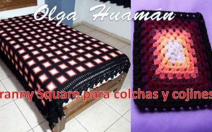 Granny Square tejido a crochet para colchas, cubrecamas y cojines paso a paso
