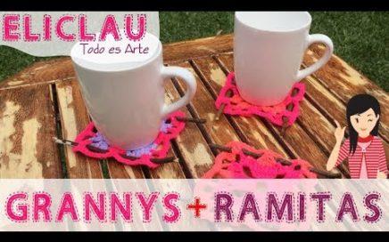 Grannysquare + Deco = Posa Taza | A Grannysquare + twigs = Poses-cup | EliClau