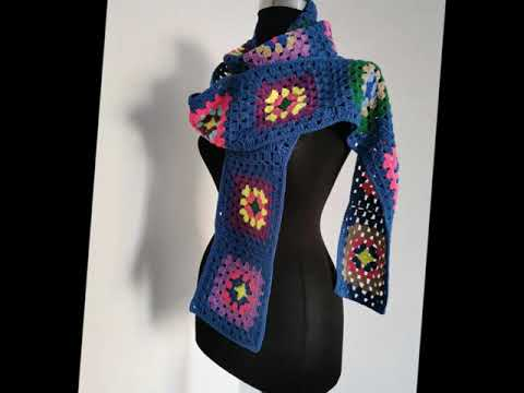 Long Knit Granny Square Scarf,Crochet Scarf,Colorful Scarf