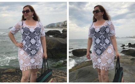 Saída de Praia Square Floral em Crochê/ Tutorial Diy Crochet