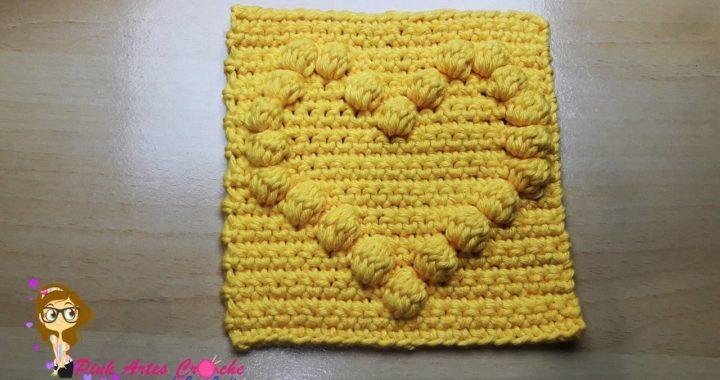 👊# Square Coração  Ponto Pipoca em Relevo - Pink Artes Croche by Rosana Reccchia