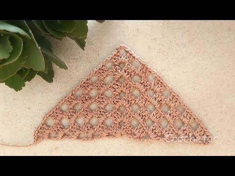 Square Triângulo (meio square) crochê - Professora Maria Rita