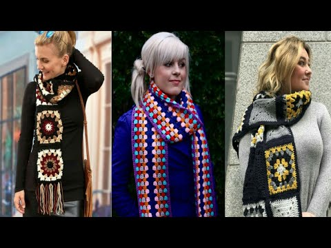Top stylish crochet granny square scarf designs for women and girls