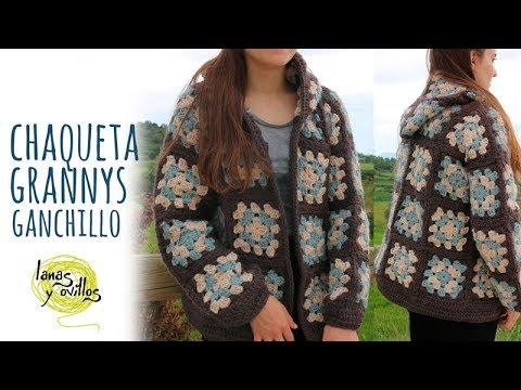 Tutorial Chaqueta o Abrigo Fácil Granny Squares Ganchillo | Crochet - Lanas y Ovillos