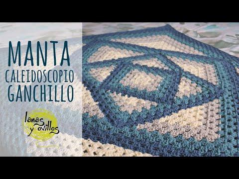Tutorial Manta Caleidoscopio Fácil | Ganchillo - Crochet | Lanas y Ovillos