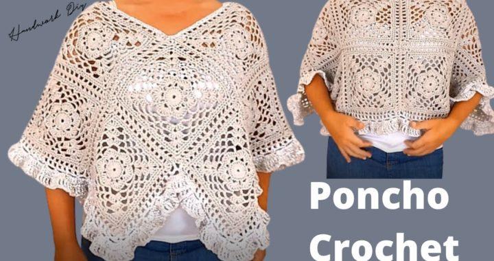 Tutorial completo de Poncho a crochet con Granny Square